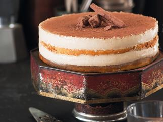 Layered espresso tiramisu cheesecake