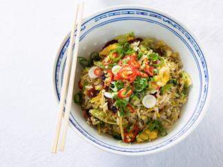Fried rice with Chinese sausage and winter greens