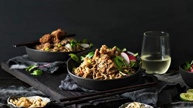 Warm soba noodle salad with crispy sesame chicken