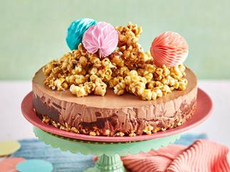 Caramel peanut choc-popcorn cheesecake