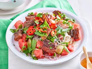 Crispy pork and watermelon salad