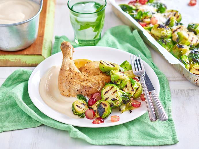 "**[Lemon chicken with brussels sprouts and grape salad:](https://www.womensweeklyfood.com.au/recipes/lemon-chicken-with-brussels-sprouts-and-grape-salad-1613|target=""_blank"")** Crispy marinated lemon chicken, creamy cauliflower puree and a fresh and healthy grilled brussel sprout salad makes this dish is worthy of any restaurant menu."