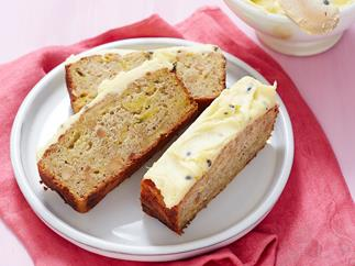Gluten-free banana and passionfruit bread