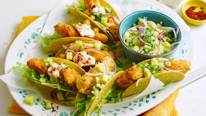 Crispy coconut fish tacos with pineapple salsa