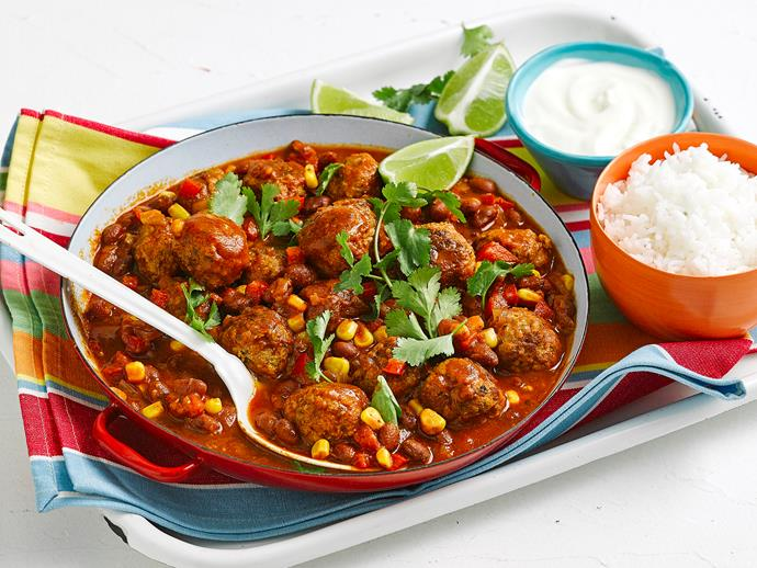 "**[Chilli con carne meatballs](https://www.womensweeklyfood.com.au/recipes/chilli-con-carne-meatballs-1619|target=""_blank"")**  We've put a fun twist on the classic chille con carne with the addition of hearty meatballs. Try serving this delicious Mexican-spiced casserole over freshly steamed rice for an easy family dinner."