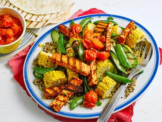 Grilled corn and haloumi salad with warm tomato dressing