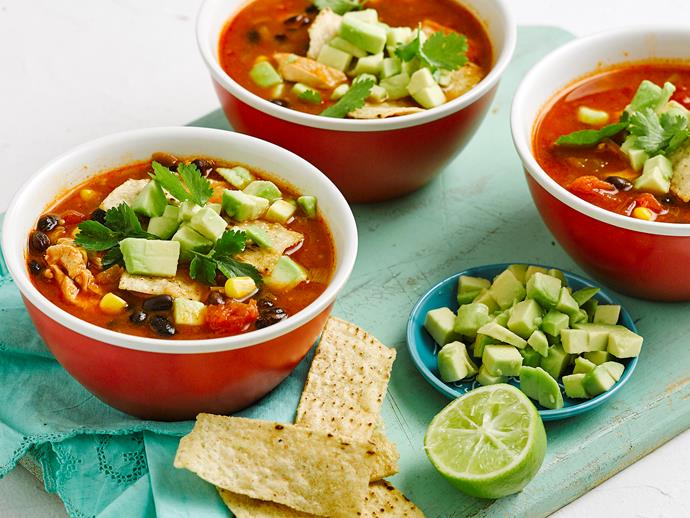 "**[10 minute chicken and bean tortilla soup](https://www.womensweeklyfood.com.au/recipes/10-minute-tortilla-soup-1623|target=""_blank"")**  Whip up this delicious (and healthy) Mexican-style soup in no time at all with a few supermarket shortcuts. It's packed full of hearty black beans and tender chicken pieces for maximum flavour impact."
