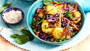 Curried coconut and prawn stir-fry