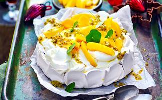 Mango and passionfruit pavlova
