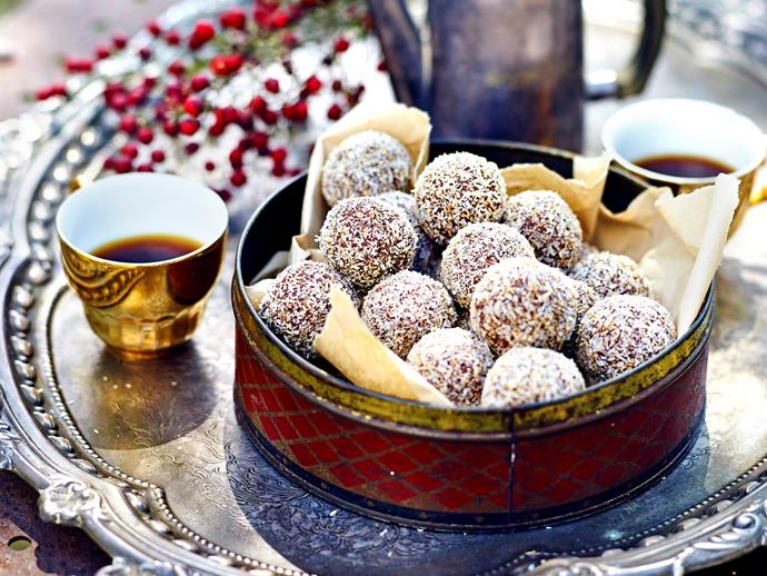 "**[Classic rum balls](https://www.womensweeklyfood.com.au/recipes/classic-rum-balls-1632|target=""_blank"")**  Sweet and fragrant, these rum-infused treats are rolled in toasted coconut and served up at Christmas time."