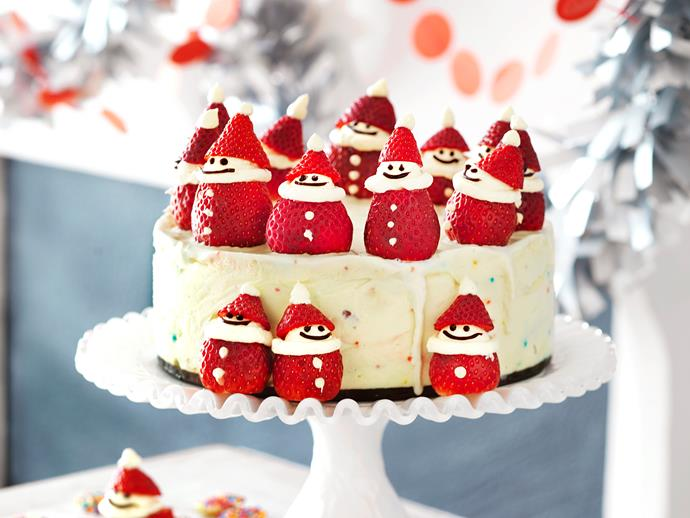 Santa Claus Christmas ice-cream cakeThis adorable Christmas-themed cake is perfect for festive celebrations. The cream-filled strawberry Santas will be a favourite with the kids, plus the creamy ice-cream filling, of course.