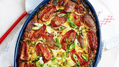 Sausage, tomato and spinach bake