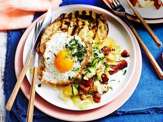 Chorizo hash with fried eggs