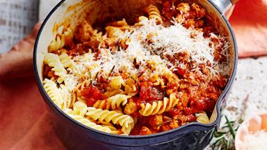 Fusilli with hearty sausage ragout