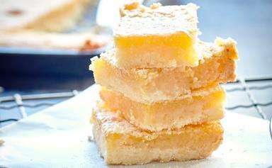 Gooey, chewy lemon and honey slice
