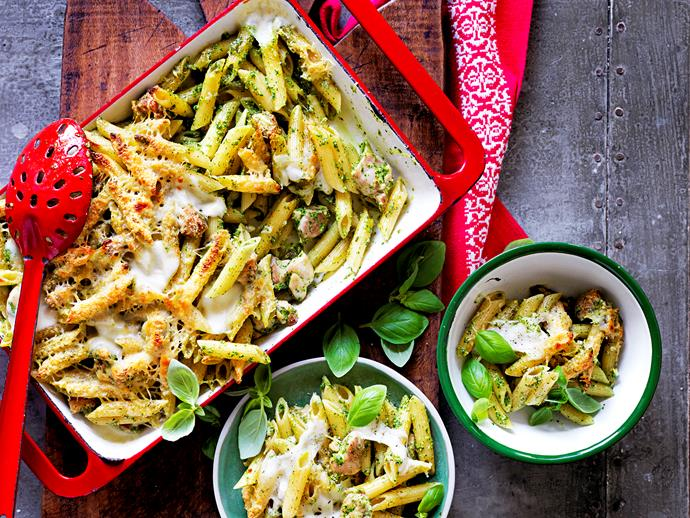 "**[Chicken and pesto pasta bake](https://www.womensweeklyfood.com.au/recipes/chicken-and-pesto-pasta-bake-1648|target=""_blank"")**  Your new family favourite."