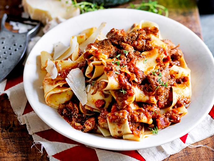 """**[Slow-cooked beef ragu with pappardelle](https://www.womensweeklyfood.com.au/recipes/pappardelle-with-slow-cooked-beef-ragu-1650