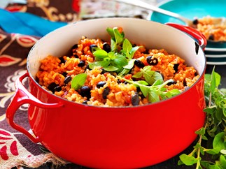 Mexican rice and black beans