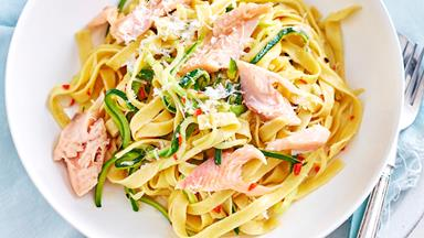 Simple smoked salmon fettucine