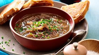 French onion soup with golden croque monsieur