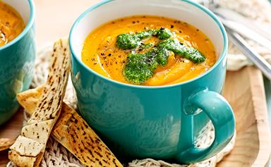 Roast carrot soup with coriander pesto