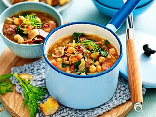 Spanish fennel and chorizo soup