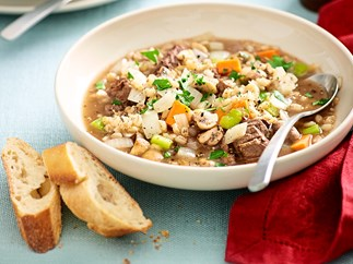 Hearty beef, vegetable and barley soup