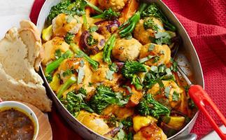 Chicken meatball korma bake