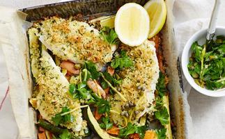 Crumbed fish 'n' chip bake