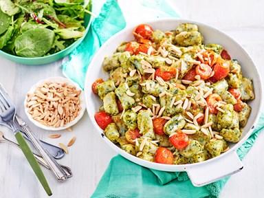 Silverbeet gnocchi with pea pesto