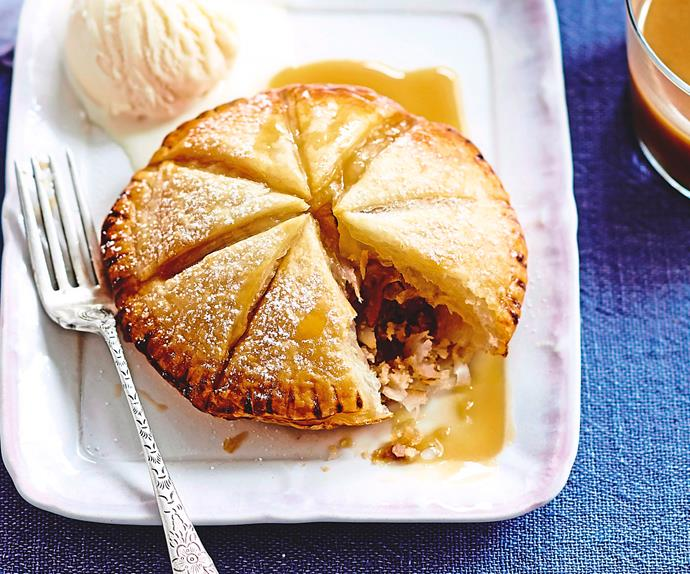 Pear and almond pithiviers with caramel brandy sauce