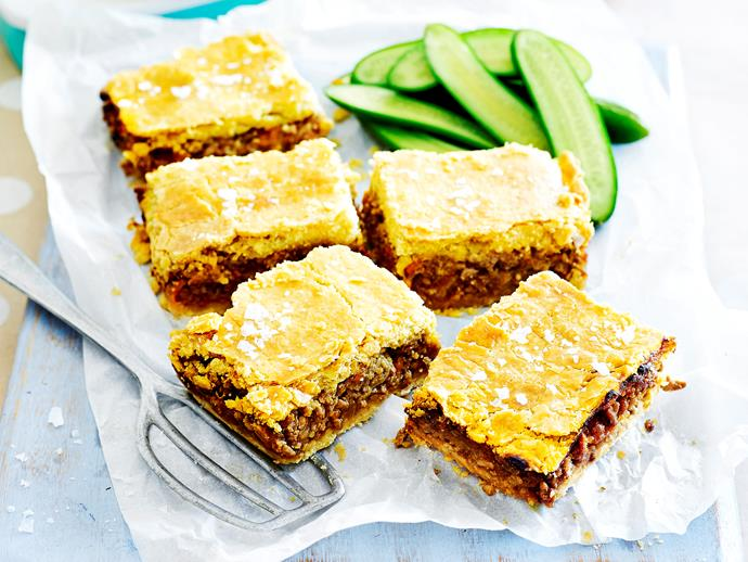 "**[Savoury beef mince slice](https://www.womensweeklyfood.com.au/recipes/savoury-mince-slice-1645|target=""_blank"")**  Slices aren't just limited to caramel and coconut, you know."
