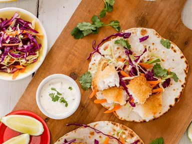 Soft fish tacos with crunchy slaw