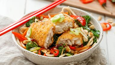 Fish with soy and ginger noodles