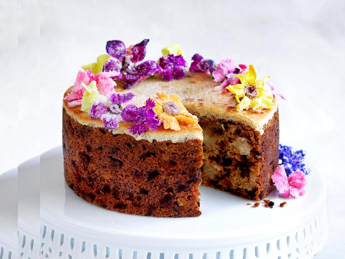 "**[Simnel cake](https://www.womensweeklyfood.com.au/recipes/simnel-cake-recipe-1660|target=""_blank"")**   Packed with fruit, spices and marzipan, Simnel Cake is an Easter tradition. We've made ours with chunks of marzipan and decorated it with pretty flowers."