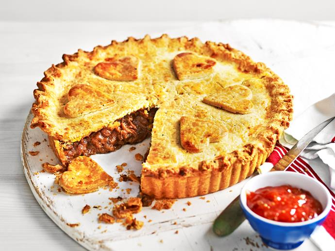 """**[Beef and beer pie](https://www.womensweeklyfood.com.au/recipes/beef-and-beer-pie-1662 target=""""_blank"""")**  A deliciously hearty beef and beer filling is encased in a buttery parmesan and pepper pastry to create a perfect weekend dinner. Be warned, though, your loved ones will be asking for seconds!"""