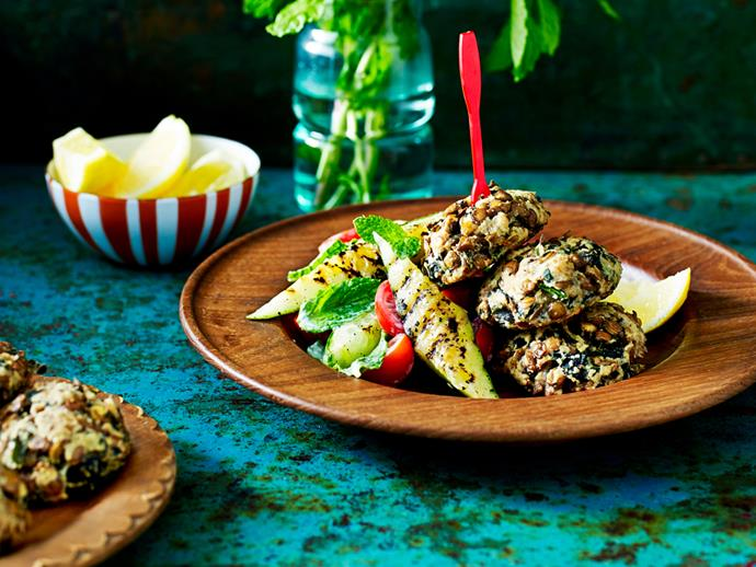"""**[Brown lentil patties with grilled cucumber salad](https://www.womensweeklyfood.com.au/recipes/brown-lentil-patties-with-grilled-cucumber-salad-1663