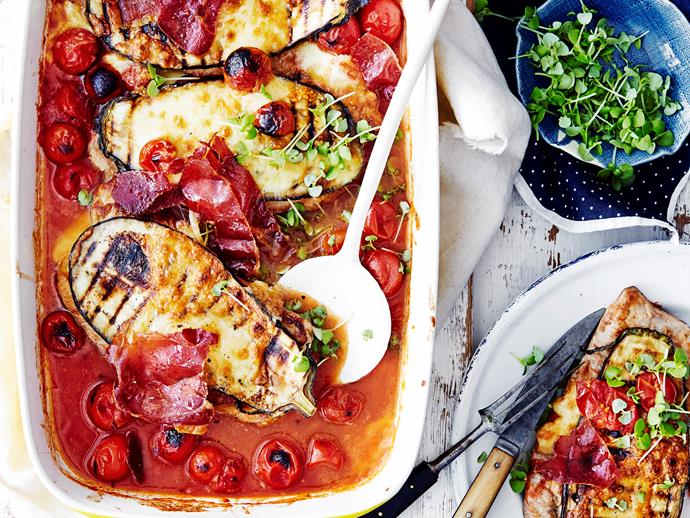 """**[Pork parmigiana bake](https://www.womensweeklyfood.com.au/recipes/pork-parmigiana-bake-1666