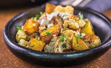 Roasted potatoes and cauliflower with tahini dressing
