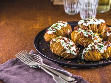 Bacon and cheese-stuffed hasselback potatoes