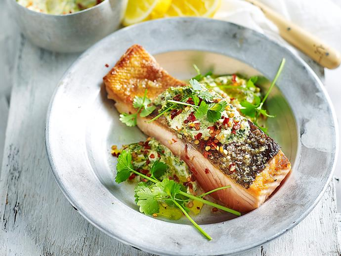 "[**Crispy salmon with chermoula yoghurt**](http://www.womensweeklyfood.com.au/recipes/crispy-salmon-with-chermoula-yoghurt-1673|target=""_blank"")"