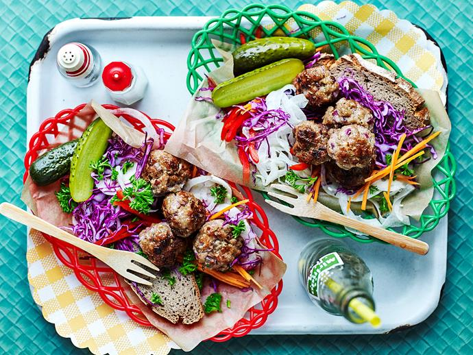 "**[Pork and fennel meatballs with tangy coleslaw](https://www.womensweeklyfood.com.au/recipes/pork-and-fennel-meatballs-with-tangy-coleslaw-1675|target=""_blank"")**  Pork and fennel are two flavours that go together absolutely perfectly, and we've paired them here in these juicy meatballs to create a delicious weeknight dinner recipe. Serve with creamy slaw for a complete meal the whole family will love."