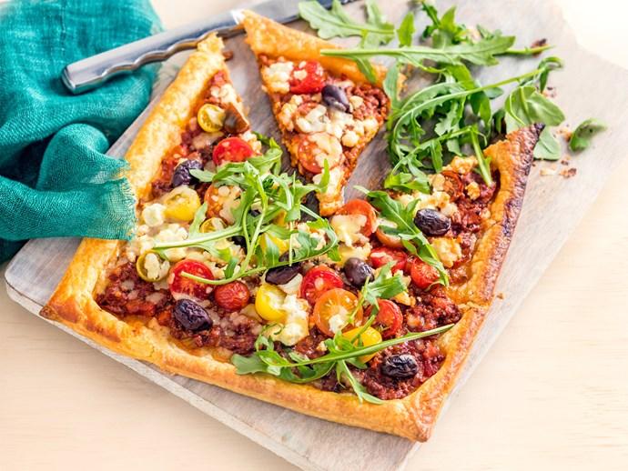 Bolognese, tomato and feta tart