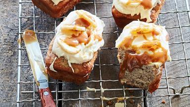 Banana loaves with salted caramel icing