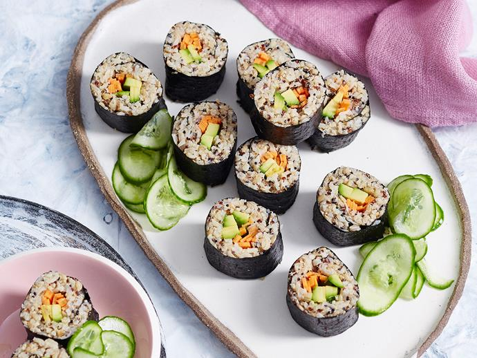 "Put a delicious twist on classic [homemade sushi with this mixed grain avocado](https://www.womensweeklyfood.com.au/recipes/avocado-mixed-grain-sushi-recipe-1678|target=""_blank"") recipe from the ['Healthy Family Eating' cookbook](https://www.magshop.com.au/the-australian-womens-weekly-disney-healthy-family-eating