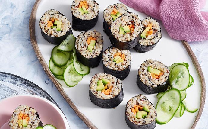 Avocado mixed grain sushi