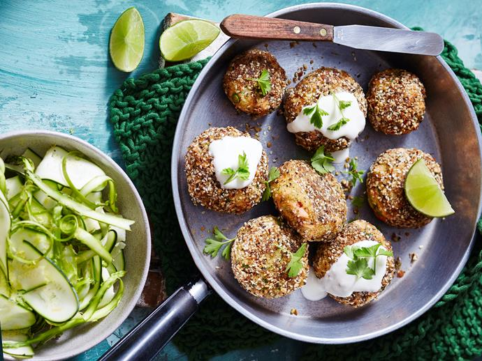 "**[Dukkah salmon patties with zucchini and asparagus salad](https://www.womensweeklyfood.com.au/recipes/dukkah-salmon-patties-with-zucchini-salad-1679|target=""_blank"")**  Get your little ones eating more seafood with these super tasty salmon patties from the ['Healthy Family Eating' cookbook](https://www.magshop.com.au/the-australian-womens-weekly-disney-healthy-family-eating