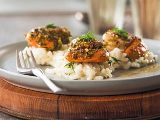 Seared pistachio nut scallops with lime and dill risotto