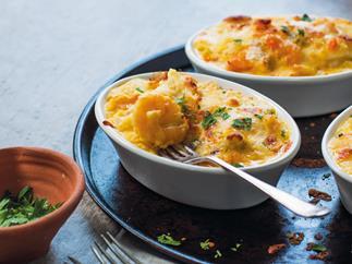 Creamy saffron seafood mornay
