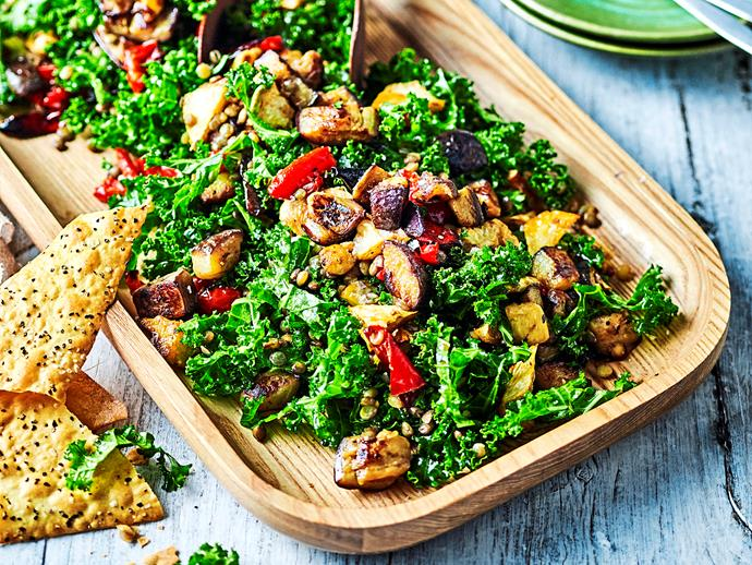 "This delicious [eggplant, kale and lentil salad](https://www.womensweeklyfood.com.au/recipes/eggplant-kale-and-lentil-salad-1682|target=""_blank"") is packed full of flavour and textures, proving that healthy lunches don't have to taste boring. You'll love the combination of flavours and sweet pomegranate dressing."